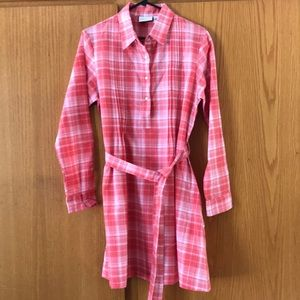 Vermont Country Store coral plaid western midi, M